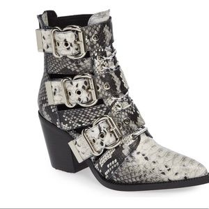 Jeffrey Campbell Snakeskin Buckle Caceres Bootie
